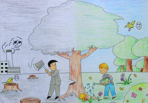 保护环境的绘画作品图片