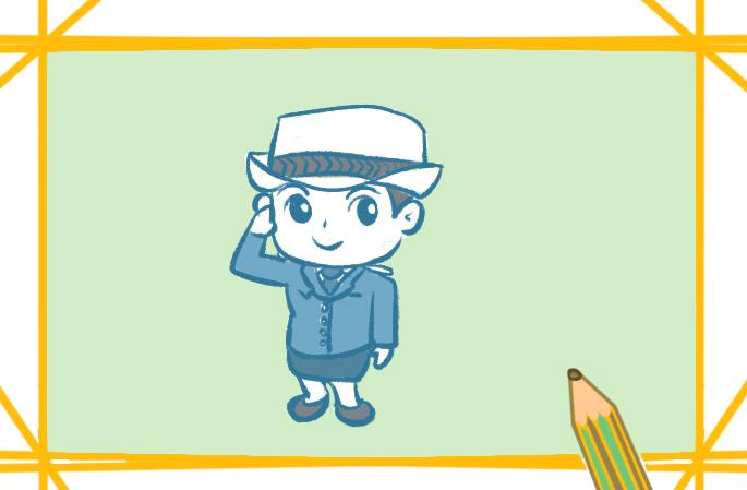 漂亮的女警察上色简笔画要怎么画