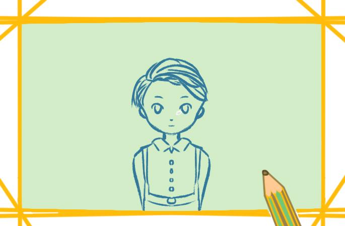 可爱的金发正太上色简笔画图片教程