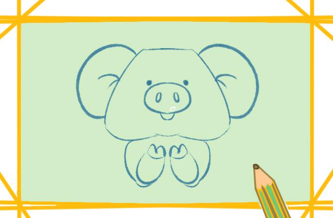 喜氣洋洋的小豬上色簡筆畫圖片教程步驟