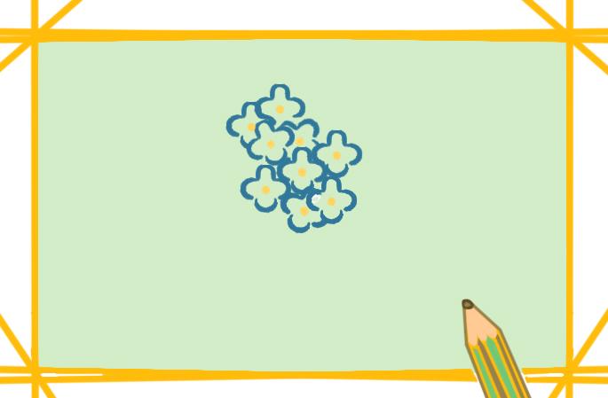 美麗的繡球花上色簡筆畫圖片教程