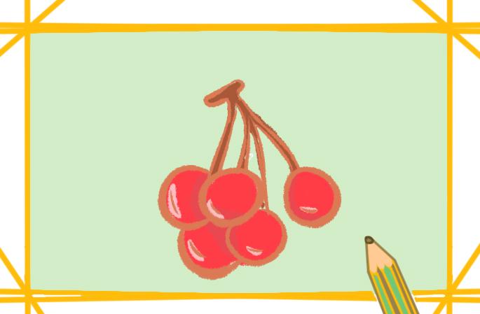 红色的樱桃上色简笔画图片教程步骤
