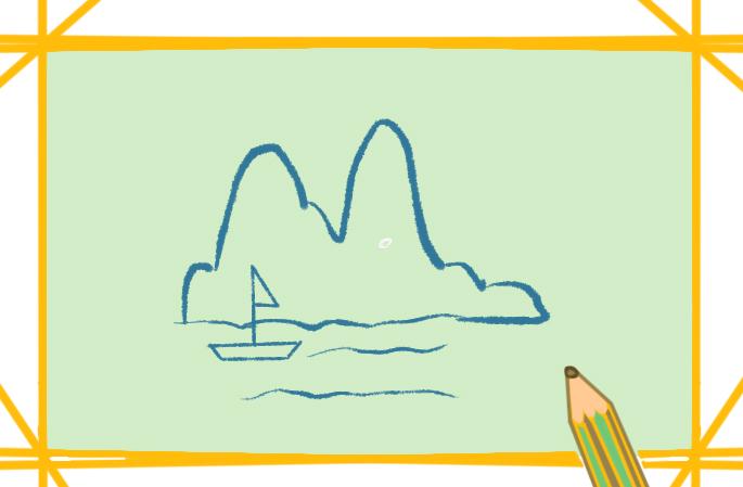 漂亮的河边景色简笔画教程步骤图片