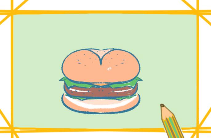 好看的牛肉汉堡简笔画图片教程步骤
